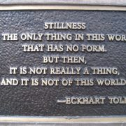 Stillness_by_Eckhart_Tolle_on_a_Park_bench_plaque_facing_Sacramento_River_Redding_CA